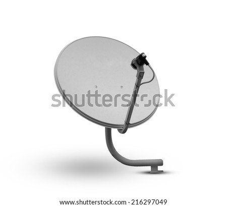 Old satellite dishes isolated on white background. - stock photo
