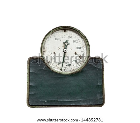 old scale with capacity of 250 lbs,on a white background