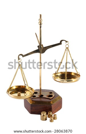 Old scales on a white background - stock photo