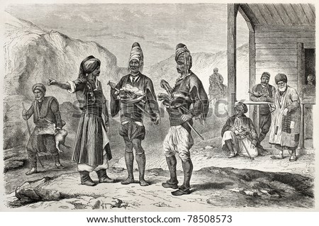 Old scene of Turkish people. Created by Castelli, published on Le Tour du Monde, Paris, 1864