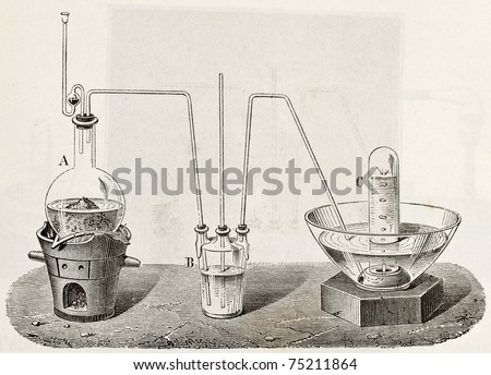 Old schematic  illustration of laboratory apparatus for oxygen production. Created by Laplante and Javandier, published on L'Eau, by G. Tissandier, Hachette, Paris, 1873 - stock photo