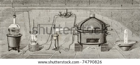 Old schematic  illustration of laboratory apparatus for water decomposition by chlorine. Created by Hildibrand and Javandier, published on L'Eau, by G. Tissandier, Hachette, Paris, 1873 - stock photo