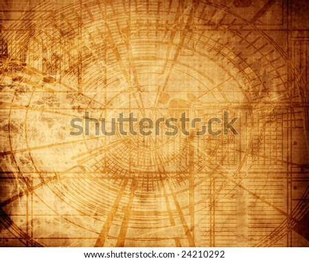 old schematics on a grunge paper with some stains - stock photo