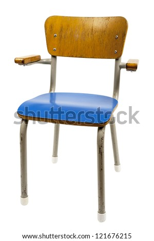 old school chair isolated on white - stock photo