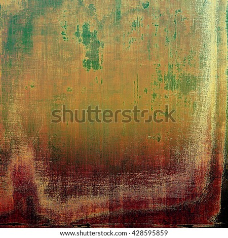Old school frame or background with grungy textured elements and different color patterns: yellow (beige); brown; green; red (orange); purple (violet); pink - stock photo
