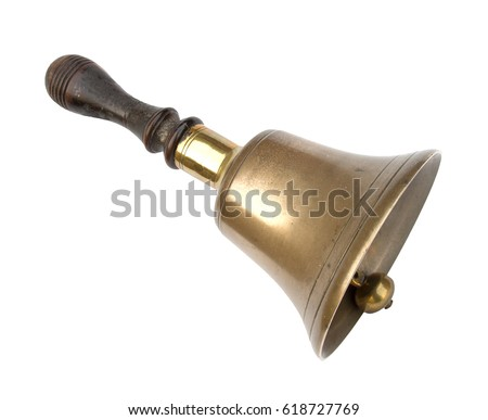 Old school hand bell. Traditional design, brass with wooden handle. Well worn!