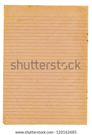 old school notebook page isolated on white background - stock photo