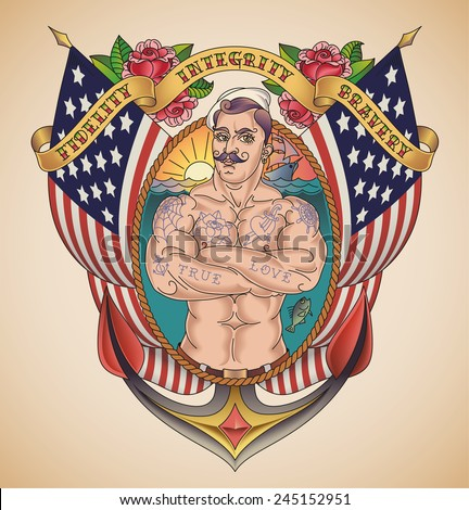 Old-school patriot tattoo of a handsome sailor on the background of USA flags wrapped in a banner. Raster image. - stock photo