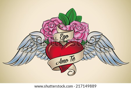 Old-school styled tattoo of a red heart, pink roses and blue wings. The motto Ego Amo Te means I Love You in Latin. Raster illustration. - stock photo