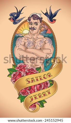 Old-school tattoo of a handsome sailor with a rope frame and bunch of red roses. Raster image. - stock photo