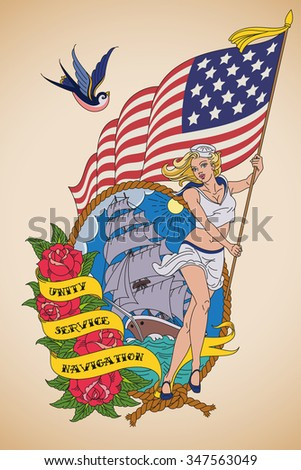 Old-school US Navy tattoo of a sensual woman sailor with the US flag in her hands. Raster image. - stock photo
