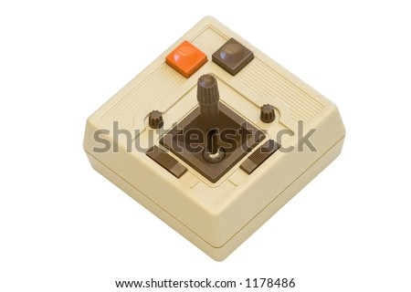 Old school video game joystick on white background complete with clipping path. - stock photo