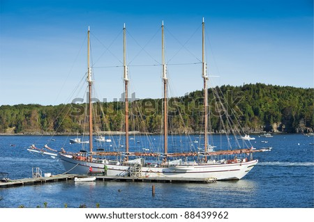 Old schooner at dock waiting to set sail in Bar Harbor, Maine, USA - stock photo