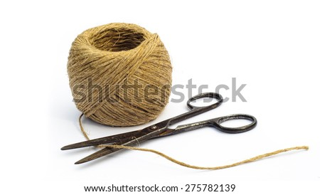 old scissors with rope - stock photo