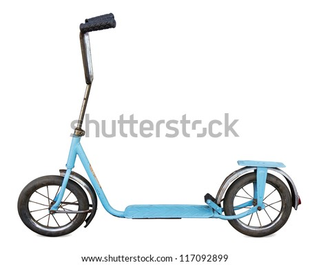 Old scooter isolated. Clipping path included. - stock photo
