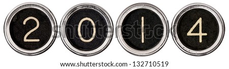 Old, scratched chrome typewriter keys with black centers and white letters spelling out 2014.  Each key is isolated on white with clipping path. - stock photo