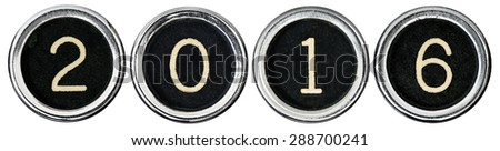 Old, scratched chrome typewriter keys with black centers and white numbers spelling out 2016.  Each key is isolated on white with clipping path. - stock photo
