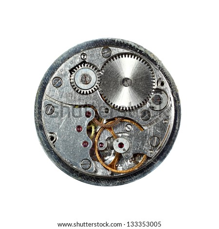 Old scratched clockwork macro closeup isolated on white background. Sharp over all image - stock photo