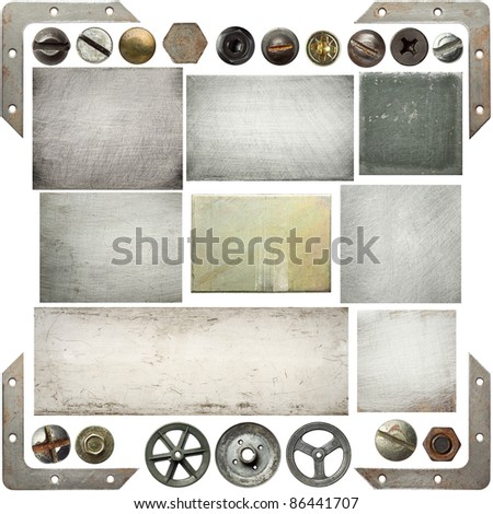 Old scratched metal textures, screw heads, pulleys. - stock photo