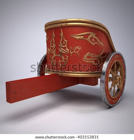 old scratched roman chariot. on gradient white background. metal wheels and gold decoration. 3D illustration - stock photo