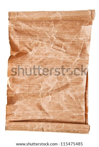 old scroll paper isolated on white background