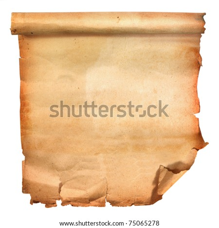 old scroll paper isolated on white background - stock photo