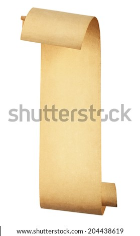 old scroll paper isolated on white background. Clipping Path  - stock photo