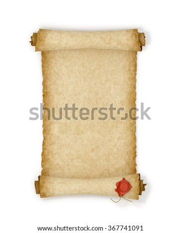 Old scroll paper with a wax seal on a white background. - stock photo