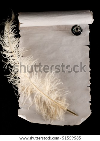 Old scroll paper with quill pen and ink - stock photo