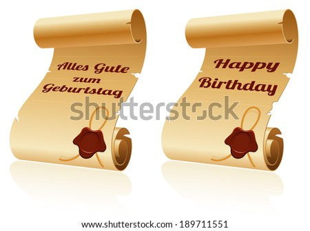 Old Scroll Paper with Sealing Wax and Happy Birthday, template for design - stock photo