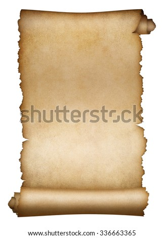 Old scroll parchment or paper isolated - stock photo