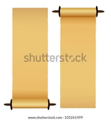 Old scrolls on white background. - stock photo