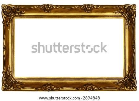 old sculpted golden frame isolated on white - stock photo