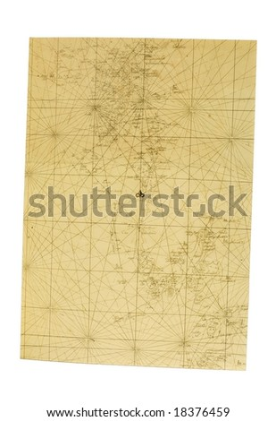 Old sea map - stock photo