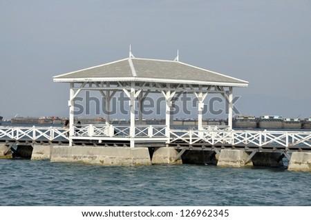 Old Sea Pavilion Sky Wood - stock photo