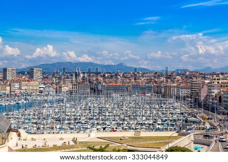 Old sea port in a summer day in Marseille, France