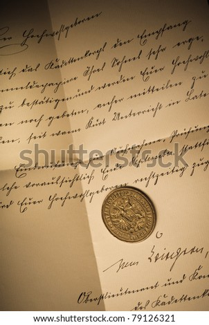 Old seal on a hand-written letter
