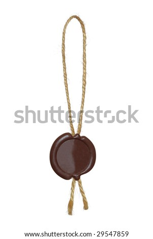 Old sealing wax stamp with rope. - stock photo
