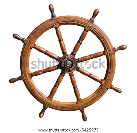 Old seasoned boat steering wheel isolated on white background. Useful for leadership and skillful management concepts. - stock photo