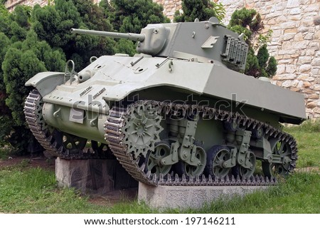 Old Second World War tank. - stock photo