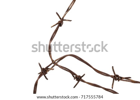 Old Security Barbed Wire Fence Isolated Stock Photo & Image (Royalty ...