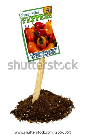 old seed pack containing mini sweet bell pepper seeds on a stake in mound of soil - stock photo