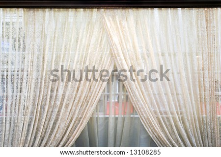 Old semi transparent double side light curtains - stock photo