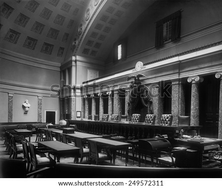 Old Senate Chamber was used by the Supreme Court from 1860 until 1935. Photo taken ca. 1920s. - stock photo