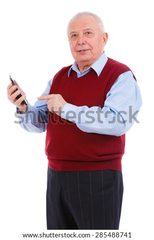 Old Senior Man in marsala color cardigan, dial phone number on smart phone and looking to camera, isolated on white background. Positive human emotion, facial expression - stock photo