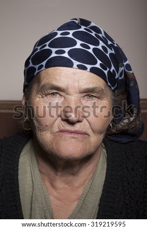 Old senior woman happy expression