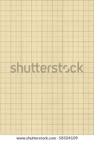 Old sepia graph paper square grid background. - stock photo