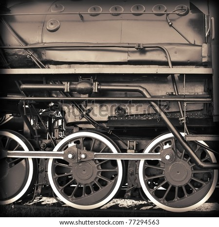 old sepia train - stock photo