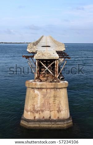 Old seven mile bridge in Florida Keys - stock photo