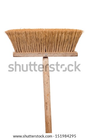 Old shabby broom on white background - stock photo